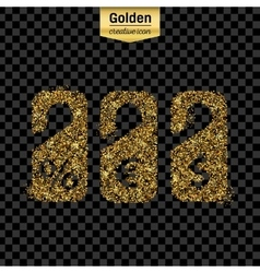Gold glitter icon of price tag isolated on vector image