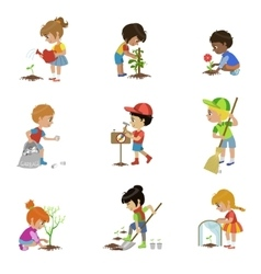 Kids gardening set vector
