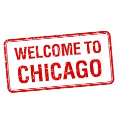 Welcome to chicago red grunge square stamp vector