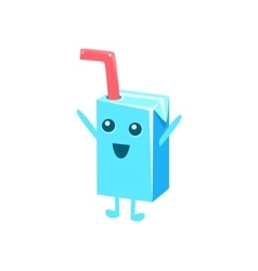 Milk box with straw character vector