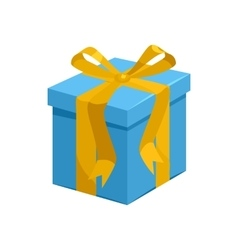 Blue gift box with yellow ribbon icon vector