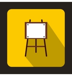 Wooden easel icon in flat style vector