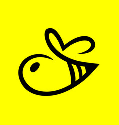 abstract bee symbol icon on yellow vector image vector image