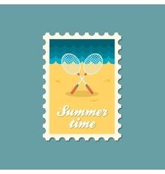 Badminton Racket flat stamp vector image vector image