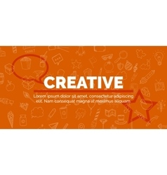banner of text on orange background with different vector image