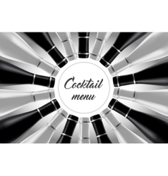 Black and white cocktail card vector image