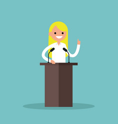 blonde girl standing behind the tribune and vector image