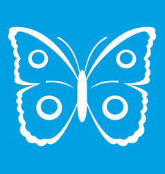 Butterfly peacock eye icon white vector