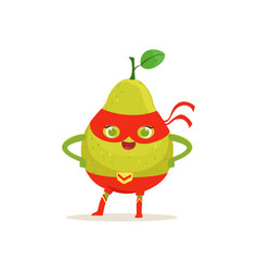 cartoon character of superhero pear with arms vector image