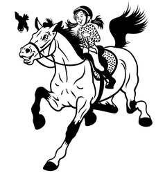 cartoon girl riding horse black white vector image