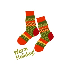 Christmas striped socks in patchwork style xmas vector