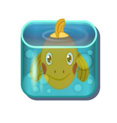 Cute cartoon gold fish in square aquarium vector