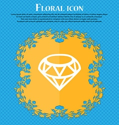 Diamond icon sign floral flat design on a blue vector