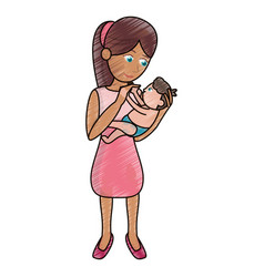 Drawing mom holding baby loving vector