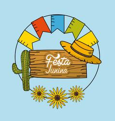 Festa junina with decorations design vector