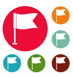 flag icons circle set vector image