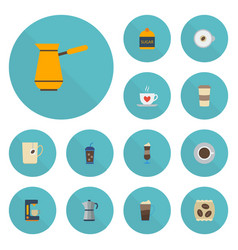 Flat icons mocha sweetener latte and other vector