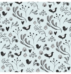 floral seamless pattern with leaves birds vector image vector image