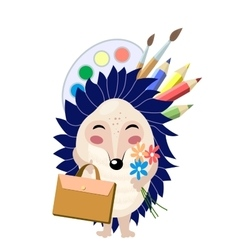 Funny cartoon blue hedgehog going to school vector image vector image