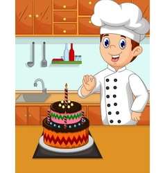 Funny chef cartoon with her made cake vector