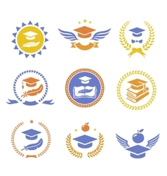 Graduation student cap sign labels Education vector image vector image