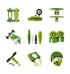 Green flat icons for longboard accessories vector image vector image