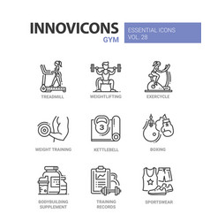 Gym - modern color single line icons set vector