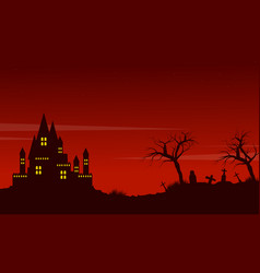Halloween red background landscape style vector
