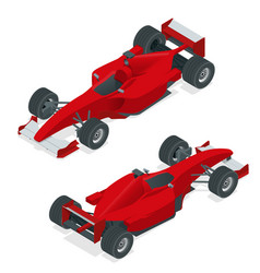 Isometric red sport car or formula 1 car flat 3d vector