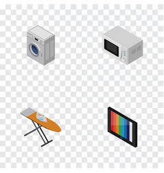 isometric technology set of cloth iron television vector image