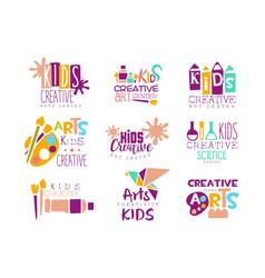Kids creative class template promotional logo set vector