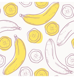 Outline stylized seamless pattern with banana vector