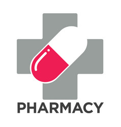 pharmacy or drugstore cross and pill vector image vector image