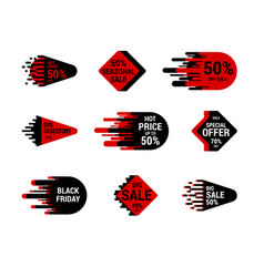 Sale sticker set with hand drawn elements red and vector