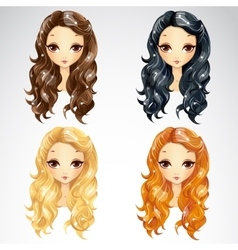 Set Of Wave Long Hair Styling vector image
