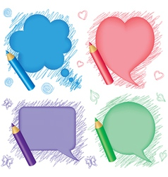 Speech bubbles and pencils vector image vector image