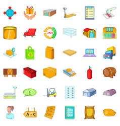 storage icons set cartoon style vector image vector image