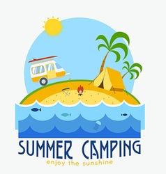 Summer Beach Camping Landscape vector image vector image