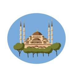 Mosque icon in cartoon style vector
