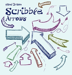 Set of scribble arrows hand-drawn on a light vector