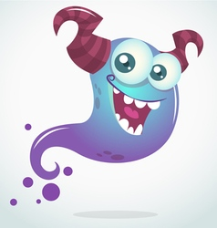 Happy cartoon blue ghost with two horns vector image