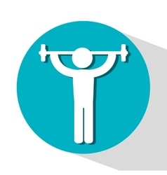 Icon barbell lifter fitness design vector