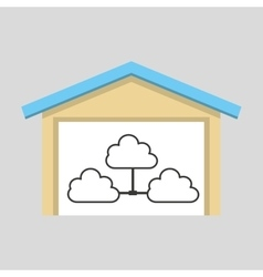 laptop technology clouds icon graphic vector image