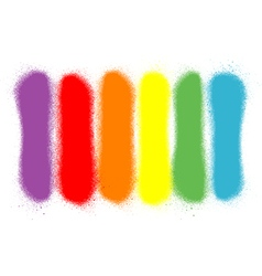 Graffiti sprayed lines in six rainbow colors vector