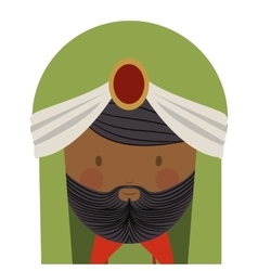 Colorful arabic man head with turban and beard vector