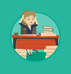 Despair business woman working in office vector