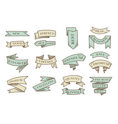 retro hand drawn cartoon ribbons with vector image