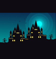 Halloween landscape with castle at night vector