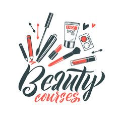 Logo beauty courses lettering custom vector