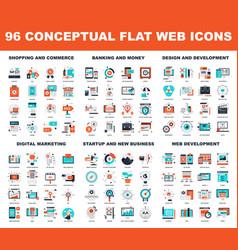 Conceptual flat web icons vector